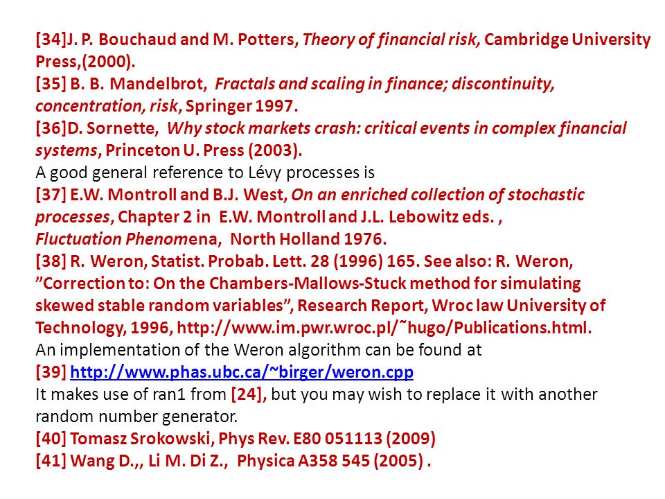 [34]J. P. Bouchaud and M. Potters, Theory of financial risk, Cambridge University
